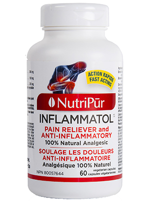 Inflammatol - Nutripur - Relieves joint and muscular pain, back pain, menstrual pain, headaches, fever associated with the common cold, etc.