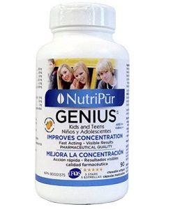 Genius Niños & Adolescentes Cápsulas - Nutripur - La fórmula más eficaz para mejorar la concentración, la memoria y las funciónes cerebrales en general en niños y adolescentes. Ayuda a disminuir los sintomas del deficit de atencion e hiperactividad TDA / TDAH