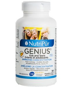 Genius Kids & Teens Capsules - Nutripur - Most effective formula to improve children's and adolescent's concentration, memory and general mental function. Helps manage attention and hyperactivity in kids with ADHD/ADD