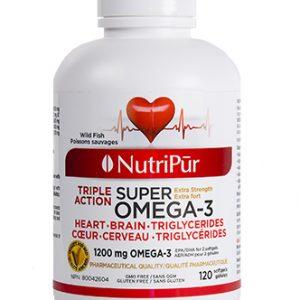 Super Omega-3 Extra Fort Gélules - Nutripur - Formule unique exceptionnellement riche en oméga-3 reconnus pour leurs effets bénéfiques sur le système cardio-vasculaire, le stress, la mémoire ainsi que pour améliorer la santé globale.