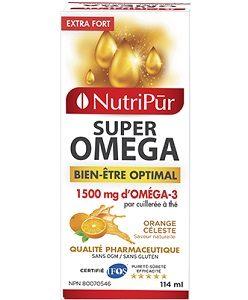 Super Omega-3 Extra Fort Liquide - Nutripur - Formule unique exceptionnellement riche en oméga-3 reconnus pour leurs effets bénéfiques sur le système cardio-vasculaire, le stress, la mémoire ainsi que pour améliorer la santé globale. Maintenant en format liquide.
