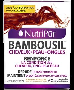 BambouSil - Nutripur - cheveux, peau et ongles, cheveux fins, perte de cheveux, cheveux épais, cheveux volumineux, ongles résistants, fractures, pousse de cheveux, ongles fragiles, collagen, végétarien.