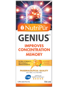 Nutripur's GENIUS Adult Concentration Formula. Effective to improve concentration, memory and general mental function. Helps manage attention and hyperactivity in adults with ADHD/ADD.