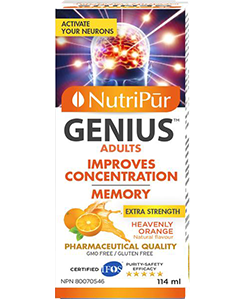 Genius Adults Liquid - Nutripur - Powerful formula to improve concentration, memory and general mental function. Helps manage attention and hyperactivity in adults with ADHD/ADD