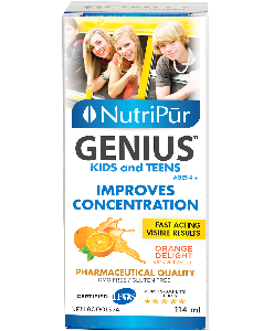 Genius Kids & Teens Liquid - Nutripur - Most effective formula to improve children's and adolescent's concentration, memory and general mental function. Helps manage attention and hyperactivity in kids with ADHD/ADD