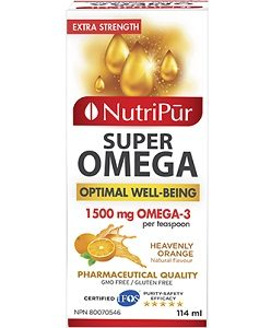 Super Omega-3 Extra Strength Liquid - Nutripur - Unique formula exceptionally rich in Omega-3. Recognized for its beneficial effects on the cardiovascular system, stress, memory and to enhance overall health, now in it's liquid format.