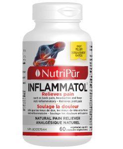 Inflammatol-Nutripur -Soulage efficacement les douleurs articulaires et musculaires, les maux de dos et les maux de tête, les douleurs menstruels, la fièvre associée aux rhumes, etc.