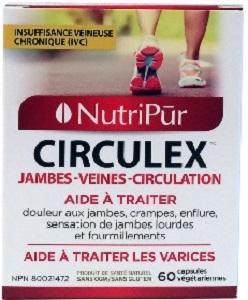 Circulex -Nutripur - pour améliorer la santé circulatoire tels que les varices, les jambes douloureuses, l'insuffisance veineuse chronique (IVC)