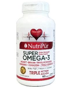 Super Omega-3 Extra Fuerte Cápsulas - Nutripur - Fórmula única excepcionalmente rica en Omega-3. Reconocido por sus efectos beneficiosos sobre el sistema cardiovascular, el estrés, la memoria y la salud en general.