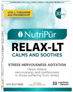 Relax LT - Nutripur - reduces anxiety and stress by naturally calming an overactive nervous system.